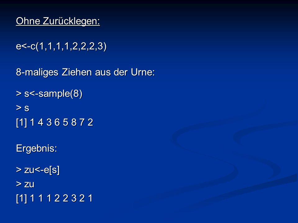 Ohne Zurücklegen: e<-c(1,1,1,1,2,2,2,3) 8-maliges Ziehen aus der Urne: > s<-sample(8) > s. [1] 1 4 3 6 5 8 7 2.
